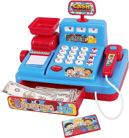 レジスターおもちゃ お買い物レジスター お会計 女の子 お店屋さん ごっこ(ブルー)