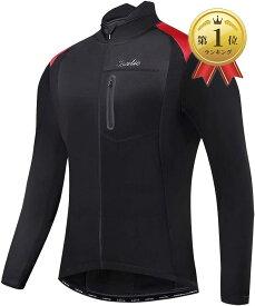 メンズ サイクルジャージ 長袖 サイクルジャケット ウィンドブレーカー 防風 防寒 秋冬用(ブラック/レッド, XL)