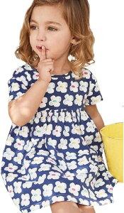 セウルブルー 手作り ヨーロッパ デザイン ワンピース 90〜140 cm 2才〜10才 大きな 刺繍 アップリケ キッズ ガールズ 子供服 ベビー 青 白い花(ホワイト花, 110)