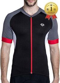 メンズ サイクルジャージ 半袖 サイクルウエア 吸汗速乾 通気 自転車ウエア 夏用(ブラック, XL)