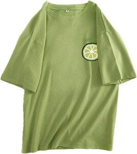 ジーティアモ カワイイ レモン ワンポイント 半袖 T シャツ レディース トップス カットソー プルオーバー ろんてぃー ロンT 白 しろ 緑 みどり グリーン かわいい 可愛い おしゃれ オシャレ