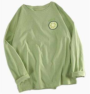 ジーティアモ かわいい レモン ワンポイント 長袖 ロング T シャツ レディース トップス カットソー プルオーバー ろんてぃー ロンT 白 しろ 緑 みどり グリーン カワイイ 可愛い おしゃれ オ