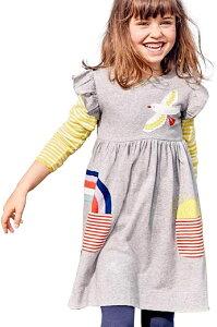 セウルブルー 手作り デザイナーズ 刺繍 ワンピース チュニック キッズ ガールズ 子供 服 鳥 虹 太陽 灰色 スカート 洋服 ドレス ルームウェア 可愛い わんぴーす 女児 こども かわいい 子ど
