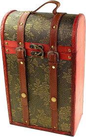 アンティーク調 ワインバッグ 木製 シャンパン ボトルバッグ 2本 収納 ケース 持ち運び 手提げ袋 選べるタイプ W51(Aタイプ)