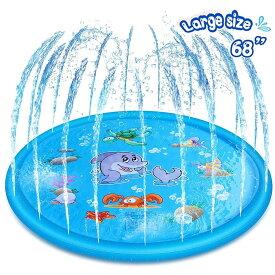 ビニールプール 噴水マット おもちゃ プレイマット 子供 夏対策 172CM直径 親子遊び 家庭用 アウトドア 芝生遊び シャワー