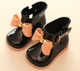 キッズ 女の子 レインブーツ レインシューズ 靴 子供 ガールズ 長靴 雨靴 リボン measurement_12_point_5_centimeters(ブラック, 12.5〜13.0 cm A)
