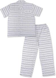 ワイズ ファクトリー パジャマ メンズ ルームウェア サッカー素材 チェック 綿 100% 半袖 上下セット 紳士(柄H, M)