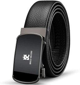 正規品ベルトメンズ 本革 オートロックスライド式バックル 紳士 スーツベルト 上質レザー 無段階調整 穴なし ビジネス カジュアル 男性ベルト サイズ調節可能 箱付 MDM(802#ブラック, 28in-40in/全長120cm)
