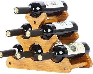 木製 ワインラック ワインホルダー 収納 シャンパン ボトル ウッド ケース スタンド インテリア W75(ブラウン)