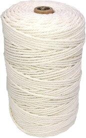 LUCINA ナチュラルコットン マクラメ ロープ 紐 糸 壁掛け ハンドメイド 3mm 200m(アイボリー)