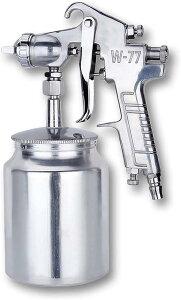エアー ペイント スプレーガン 吸い上げ式 W-77 口径 2.0〜3.0 mm タンク容量 1000ml 下壺式 ステンレス鋼 塗装 工具(2.5口径)