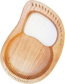 ライアーハープ 木製 16弦 弦楽器 マホガニー 竪琴 初心者 金属弦(ナチュラル)