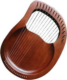 ライアーハープ 木製 16弦 弦楽器 マホガニー 竪琴 初心者 金属弦(ブラウン)
