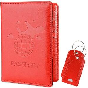 パスポートケース バッグ用ネームタグ 2点セット トラベルウォレット スキミング防止 安全な海外旅行用 高級PUレザーパスポートカバー 多機能収納ポケット 名刺 クレジットカード エアチケ