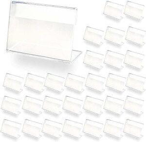 ポップ スタンド L型 30枚 セット 卓上 クリア プライス カード 席札 名刺サイズ(クリア, 30個セット)
