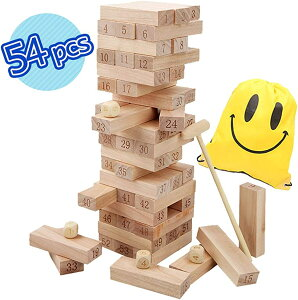 バランス ゲーム 54ピース 木製 タワー ドミノ 積み木 知育玩具 大人も子供も一緒に楽しめる サイコロ ハンマー 収納袋 セット(ナチュラル)