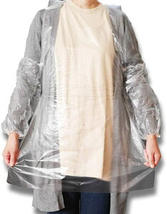 使い捨て エプロン 透明 袖付き アーム カバー 100枚 セット 防水 業務用 衛生用品(クリア, エプロン&アームガード100枚セット)