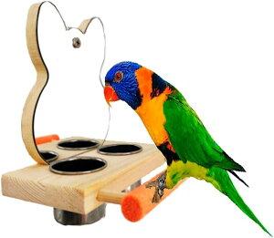 バードアスレチック 鳥スタンド 止まり木 餌台 鳥かご インコ オウム 遊園地 ブランコ ケージスタンド ミラー(ミラー付き)