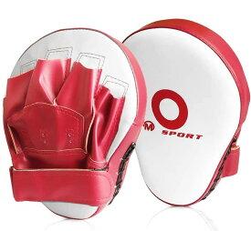 パンチングミット ボクシング 2個セット キックボクシング テコンドー ムエタイ 空手 格闘技 トレーニング用(赤白)