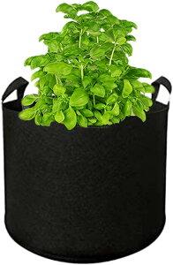 ティアニーズ大型 不織布プランター ガーデンバッグ 植木鉢 ベランダ菜園 家庭菜園用ポット 園芸 ガーデニング 栽培用(黒40ガロン)