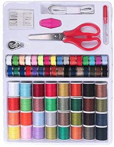 裁縫セット 電動ミシン針糸 ソーイングセットミシン針セット 64色糸 携帯式