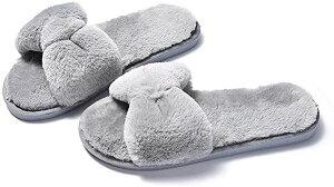 レディース モコモコ ファー リボン 室内履き フワフワ ルームシューズ 靴 スリッパ サンダル 部屋 来客 暖かい シンプル 折り畳み おりたたみ カワイイ 可愛い オシャレ お洒落 かかと 付き