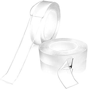 長さ3mx幅5cmx2mm 両面テープ 魔法のテープ ナノテープ 超強力 粘着テープ 洗って使える 魔法の両面テープ 繰り返し使える 養生テープ 透明 滑り止めテープ地震 倒れ込み防止 写真張り付け(長