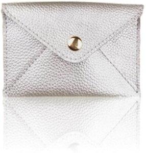 カード入れ 名刺入れ 女性 レディース カードケース コインケース 革 小型 キラキラ ポーチ(Silver)