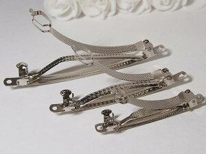 バレッタ 金具 30個セット 3サイズx10個 6cm 8cm 10cm 2段式 髪飾 クリップ ハンドメイド 手作り用金具