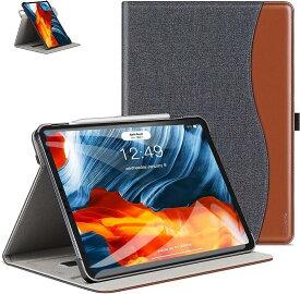 Ztotop iPad Air4 ケース第4世代/ 10.9 2020 /iPad Pro 11 2018 360°回転 高級PUレザー製 ポケット付き Touch ID干渉しません カード 全面保護(デニム、ブラック, 10.9 Inch)