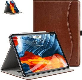 Ztotop iPad Air4 ケース第4世代/ 10.9 2020 /iPad Pro 11 2018 360°回転 高級PUレザー製 ポケット付き Touch ID干渉しません カード 全面保護 手帳型 MDM(ブラウン, 10.9 Inch)
