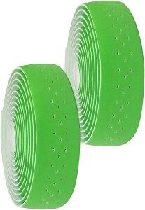morytrade バーテープ ロードバイク グリップテープ クロスバイク 穴あき バーエンド(緑)