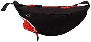 ショルダーバッグ 斜めがけバッグ ななめがけ ウエストポーチ 斜め掛けバッグ ファスナー ナイロン サメ(ブラック)