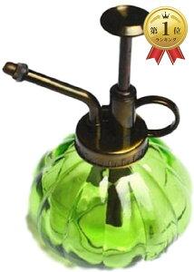 アンティーク 風 霧吹き ガラス ボトル スプレー レトロ ガーデニング 散水 ミスト(エメラルドグリーン)