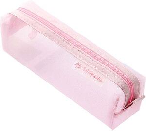ペンポーチ 筆箱 ペンケース 筆入れ 透明 学生 大容量 ペン入れ クリア シンプル 文具ケース(ピンク)