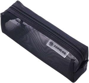 ペンポーチ 筆箱 ペンケース 筆入れ 透明 学生 大容量 ペン入れ クリア シンプル 文具ケース(黒)