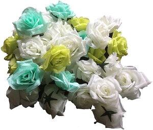 バラ 造花 ローズ 薔薇 アレンジ 8センチ 50個セット 結婚式 2次会 パーティー ブライダルイベントに グリーンxミントグリーンxホワイト(グリーンxミントグリーンxホワイト)