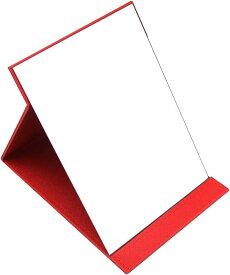 AINetJP 折りたたみ式 スタンドミラー 化粧鏡 卓上 角度調節 PUレザー シンプル 24.7cm*17.8cm(レッド, 24.7cm*17.8cm)
