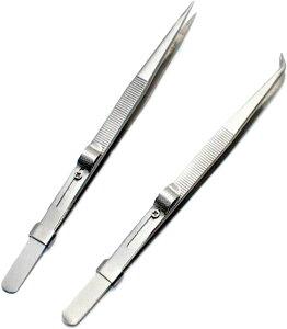 ピンセット 精密 固定式 プラモデル ホビー用工具 ジュエリー用 電子部品用 スライドロック式 ストレート&カーブ