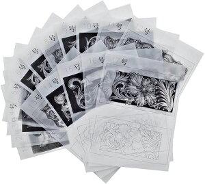 レザークラフト 型紙 カービング 図案 シェリダンスタイル(17種セット)
