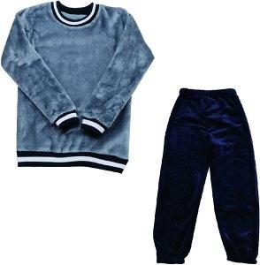 もこもこ ルームウェア セットアップ 上下セット パジャマ あったか モコモコ 無地/グレー・ネイビー,(無地/グレー・ネイビー, 160)
