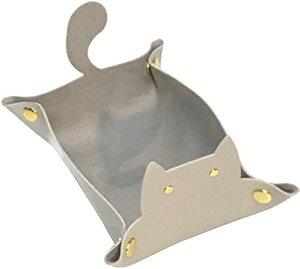 レザー トレイ 猫 小物入れ 折り畳み 収納トレー アクセサリー(グレー)