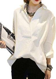 オフィスカジュアル レディース ストレッチ 長袖 ブラウス 白シャツ vネック おしゃれ おおきいサイズ ビジネス ゆったり ワイシャツ 通勤 コットン スキッパー カラーボタン 長袖カジュアル オシャレナ グラフィック(ホワイト, XL)