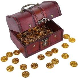 宝箱 小 金貨 50枚 アンティーク 雑貨 おもしろ雑貨 コイン カジノ ゴールド お金 おもちゃ 古銭 海賊 金貨50枚(宝箱(小), 金貨50枚)