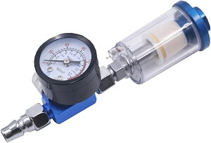 レギュレーター付き エアーフィルター セパレーター MPA 圧力計付き 水抜き 空気圧調整 水分離器 スプレーガン 0-140PSI