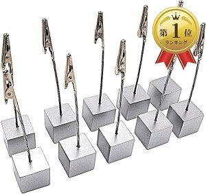 スワイヤー メモクリップ メモスタンド カードホルダー カードスタンド 名刺 写真 メニュー ポップ キューブ型 ワイヤータイプ 机上用品 卓上 販促 10個セット(シルバー)