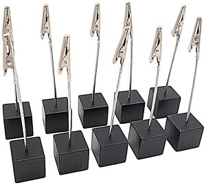 スワイヤー メモクリップ メモスタンド カードホルダー カードスタンド 名刺 写真 メニュー ポップ キューブ型 ワイヤータイプ 机上用品 卓上 販促 10個セット(ブラック)