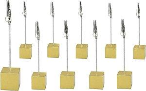 スワイヤー メモクリップ メモスタンド カードホルダー カードスタンド 名刺 写真 メニュー ポップ キューブ型 ワイヤータイプ 机上用品 卓上 販促 10個セット(ゴールド)
