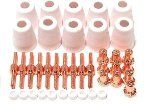 プラズマ カッター ロング ノズル & チップ 10個 セット CUT-40 CUT-40D CUT-50 CT52 切断機 消耗品 MDM(ロングノズル&カップ&チップ&カラー 10個)