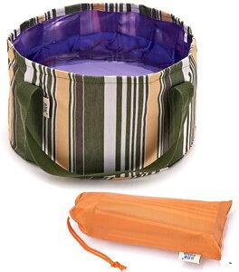 折りたたみ バケツ 12L 丸型 ポータブル コンパクト 収納バッグ付き アウトドア キャンプ 釣り 洗車に(カーキ)